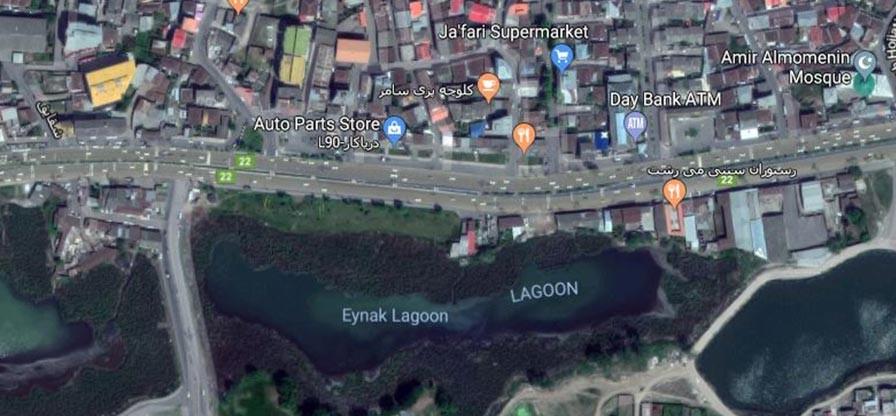 عکس هوایی از تالاب که نشان میدهد شبیه عینک است